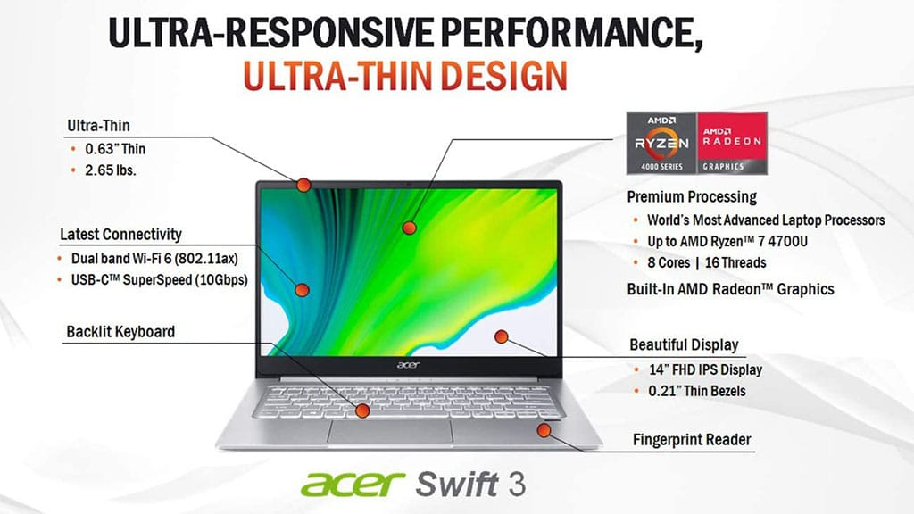 acer swift 3 sf314-42-r9yn amd ryzen laptop