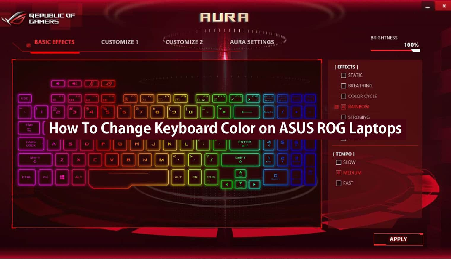 change keyboard color on asus rog laptops