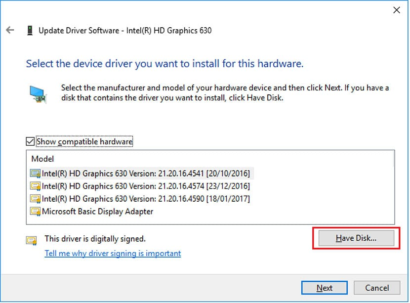 select the device driver