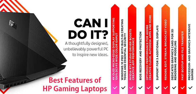 best features of hp gaming laptops