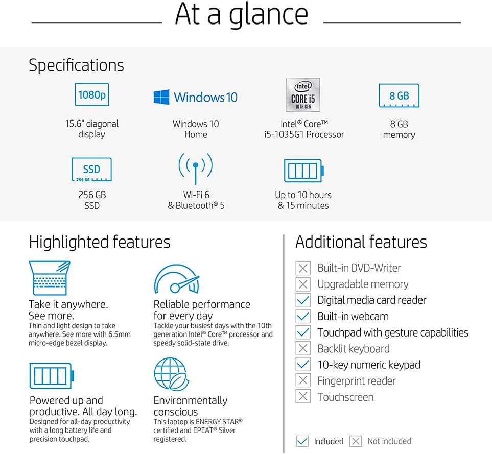 hp 15-dy1036nr at a glance