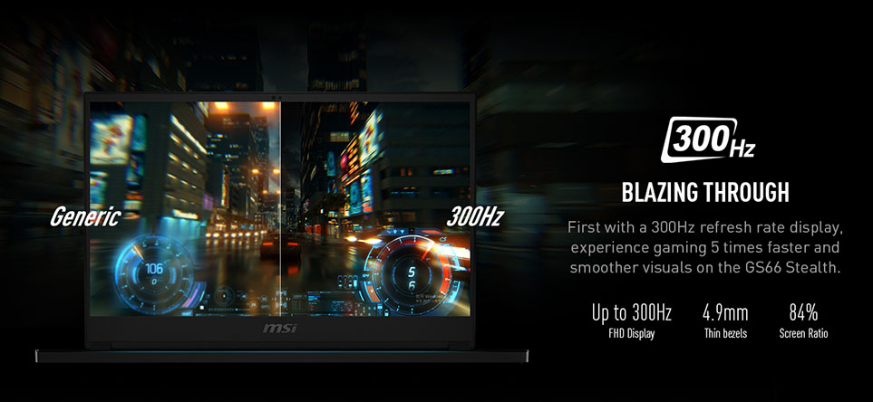 up to 300Hz display msi gs66 stealth