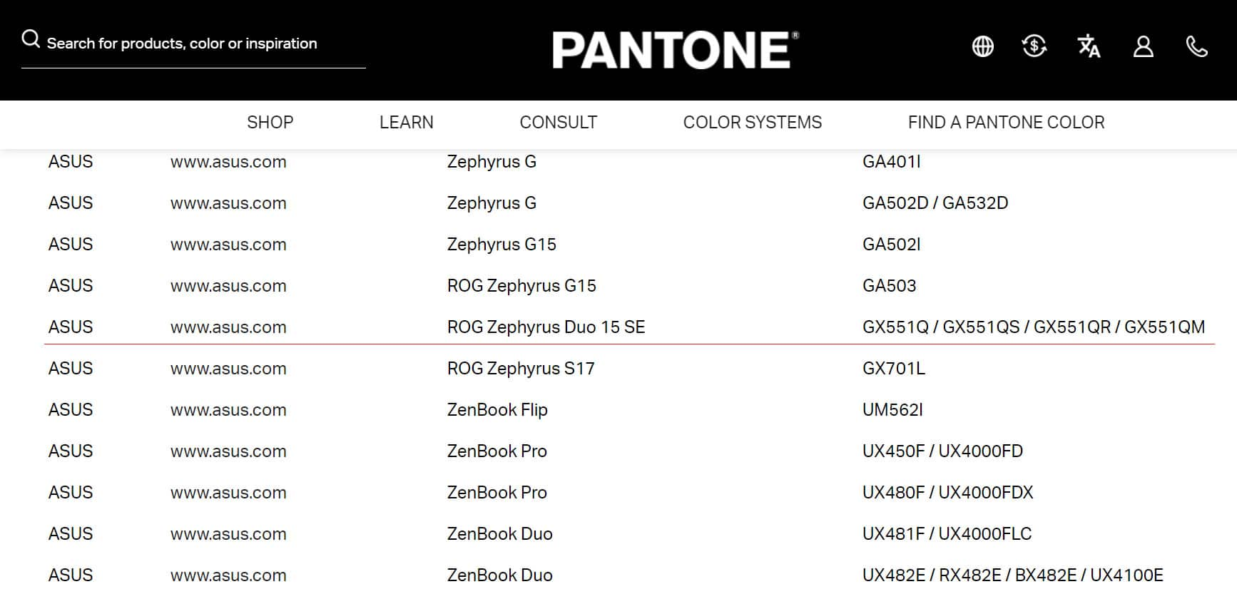 asus rog zephyrus duo 15 se gx551q pantone validation