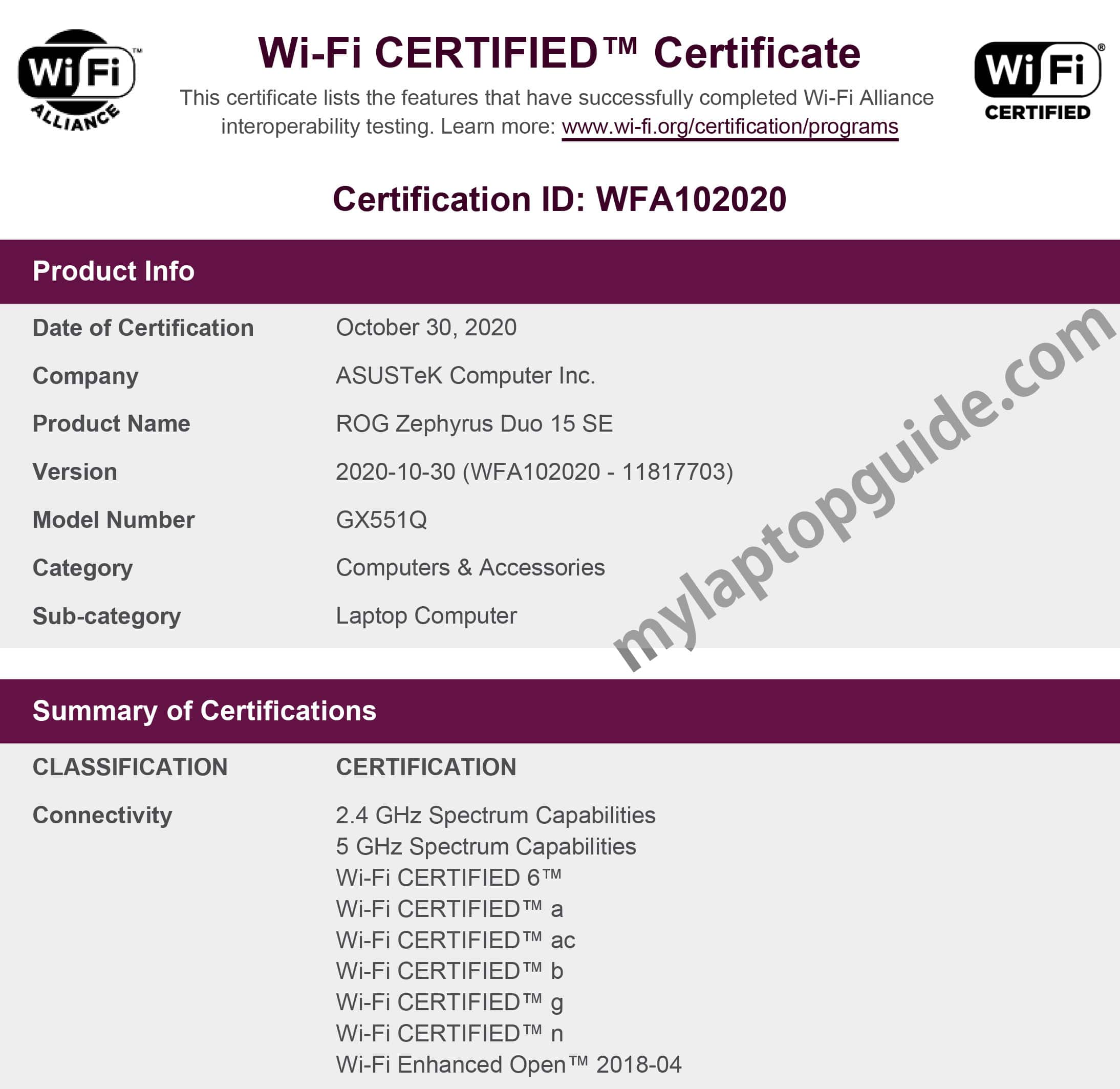 asus rog zephyrus duo 15 se gx551q wifi certification