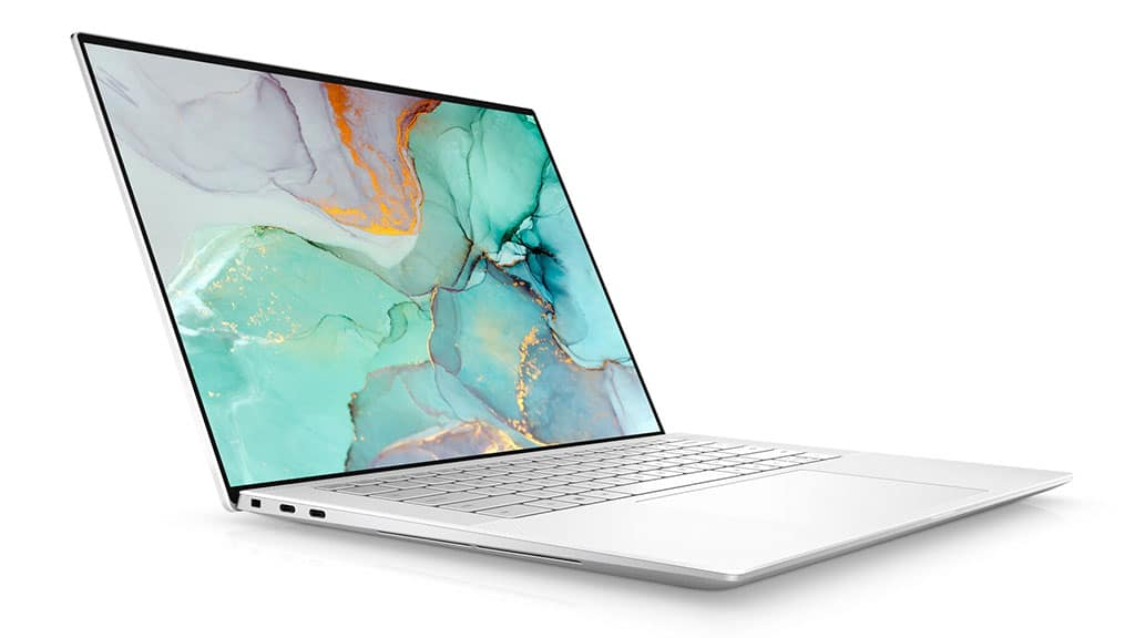 dell xps 15 9510 side view white